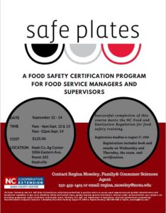 Cover photo for Safe Plates Class September 12 -14