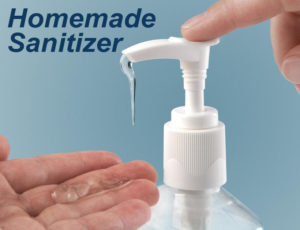 Image of a pump bottle dispensing hand sanitizer into a person's palm