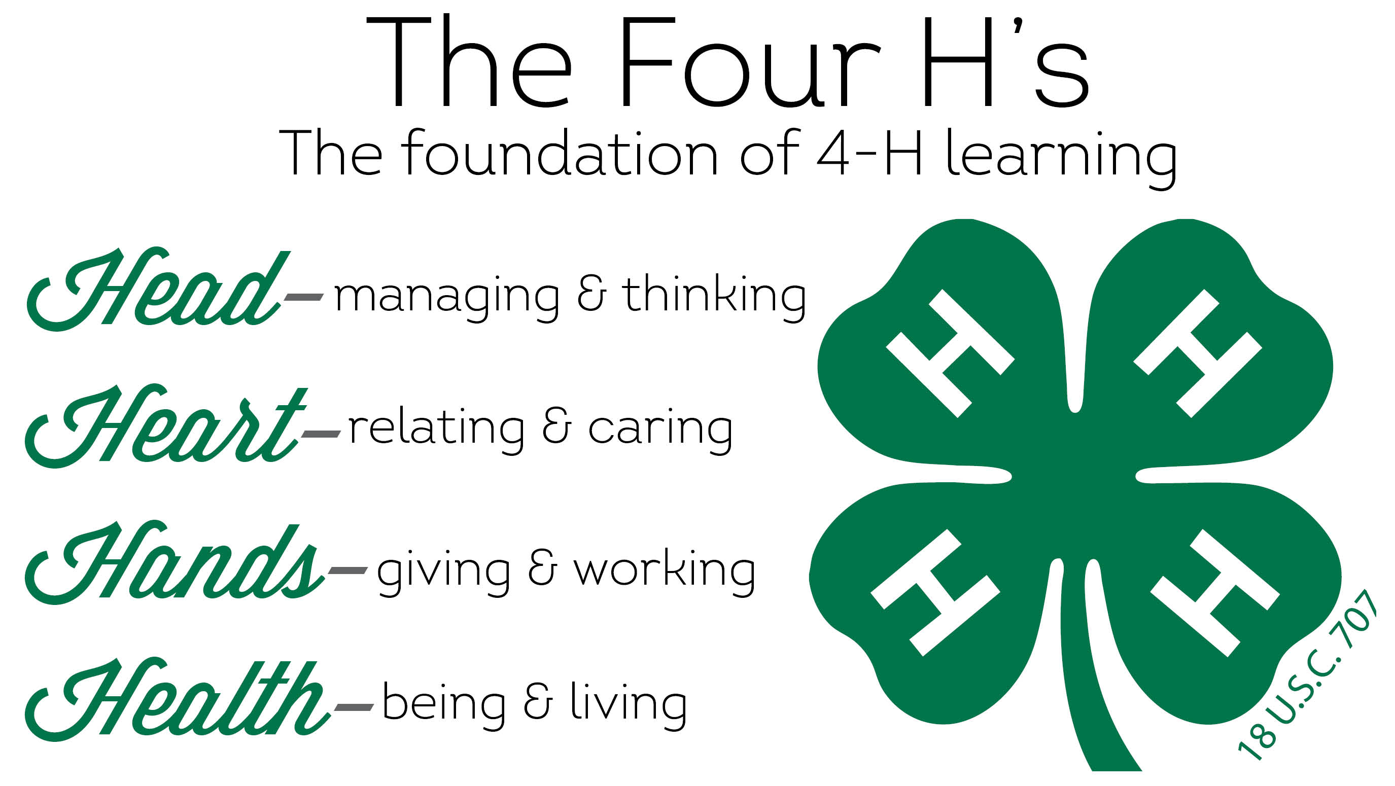 The 4 H's: Head, Heart, Hands, Health
