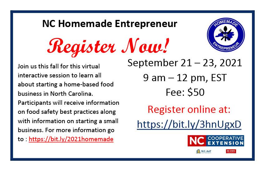 NC Homemade Entrepreneur flyer image
