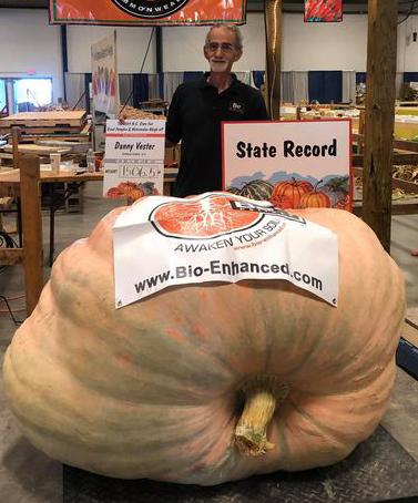 Man with large pumpkin