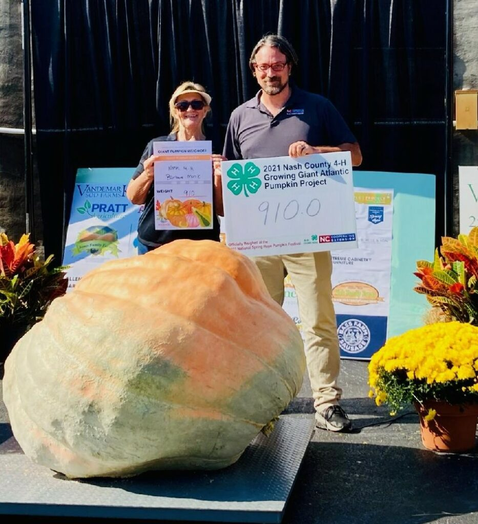 Two people standing behind a giant pumpkin